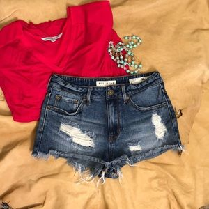 "Bullhead Distressed high rise ""cheeky"" cut-offs"